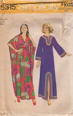 Simplicity 5315 - Misses Caftans - The ankle-length caftan V. 1 with back zipper closing has high round neckline, kimono type sleeves, front slit