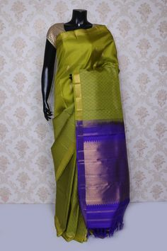 Desirable light #green pure #kanchipuram silk #zari weaved #saree -SR14116
