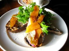 Grilled buckwheat bread with house bottarga, butter, radish at Bar Tartine in San Francisco. Photo by Steph L.