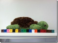 ketchen's kindergarten-measure stuffed animals with cubes.  Student draws animals and writes...my ____is _____cubes long.