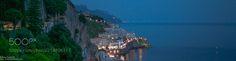 Amalfi and the Amalfi coast at sunset spring -