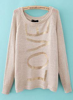 Apricot Long Sleeve LOVE Print Kint Sweater - Sheinside.com