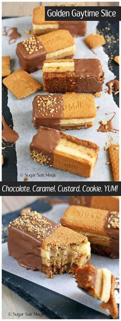 Golden Gaytime Slice Golden Gaytime Slice by Sugar Salt Magic. Irresistible layers of caramel, vanilla, biscuit and chocolate, inspired by Golden Gaytime. via Sugar Salt Magic Köstliche Desserts, Delicious Desserts, Dessert Recipes, Yummy Food, Baking Tins, Baking Recipes, Cookie Recipes, Yummy Treats, Sweet Treats
