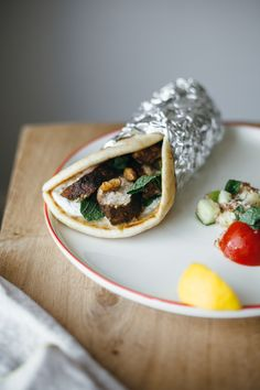 one bunch of mint, three courses: ras el hanout chicken pitas + tabbouleh + yogurt sundaes
