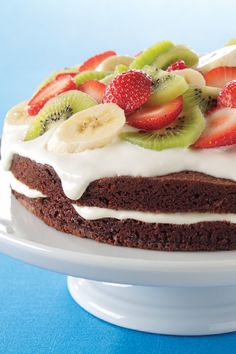 Easy Brownie Shortcake Dessert – We've raised the bar on fruity desserts with this chocolate brownie version of strawberry shortcake, complete with vibrant kiwis and a creamy center. Try this recipe for your next family gathering!