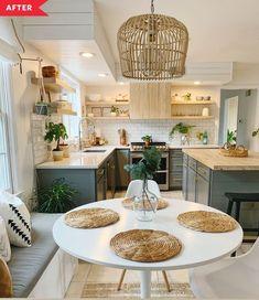 Kitchen Room Design, Boho Kitchen, Home Decor Kitchen, Interior Design Kitchen, Kitchen Layout, Kitchen Ideas, Home Design, Design Ideas, Design Trends