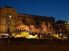 Jerez de la Frontera,  Plaza del Mamelon, There is a beautiful life size bronze sculpture of six horses pulling a carriage.