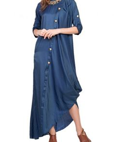 Look Stunning in this exquisite Dark Royal Blue Cowl Dress with Heart Buttons. Shop for Indian, Western, Indo-Western Fashion Designer Dresses and dress to kill for any occasion - Sangeet, Receptions, Weddings or Cocktails. Fashion Models, Fashion Outfits, Trendy Fashion, Women's Fashion, Fashion Model Drawing, Drape Maxi Dress, Classy Casual, Indian Designer Wear, Linen Dresses