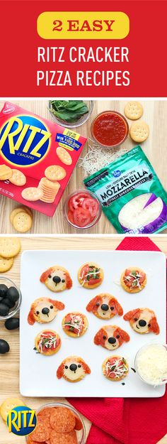 Share a sweet moment with your family when you serve up these savory RITZ Cracker bites. Featuring an adorable—yet simple—presentation, these two RITZ Cracker Pizza Recipes are sure to become your family's favorite snack idea. With toppings like pepperoni Pizza Recipes, Baby Food Recipes, Appetizer Recipes, Snack Recipes, Cooking Recipes, Snacks, Appetizers, Cute Food, Good Food
