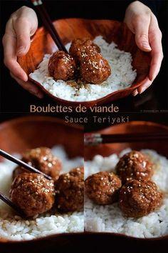 Meatballs and homemade teriyaki sauce - - Meat Recipes, Asian Recipes, Cooking Recipes, Asian Cooking, Cooking Time, Comida Armenia, Sauce Teriyaki, Food Porn, Salty Foods