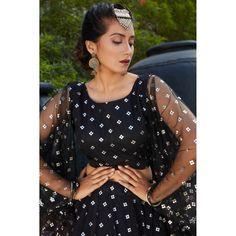 Black net metallic foil printed party wear lehenga choli Black Lehenga, Pink Lehenga, Net Lehenga, Bridal Lehenga Choli, Ghagra Choli, Party Wear Indian Dresses, Party Wear Kurtis, Party Wear Lehenga, Wedding Dresses