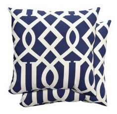 Target Home Outdoor 2-piece Toss Pillow Set in Blue Fretwork. $24.99. Great knockoff. (click on link to see designer version!)