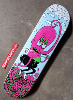 """Veteran skateboard designer Anthony Yankovic tells you to """"SIT ON IT!"""" with this www.BoardPusher.com Featured Deck. You can see more of Anthony's artwork, including some past skateboard graphics, at www.anthonyyankovic.com."""