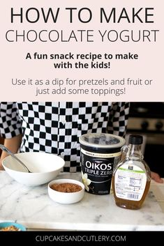 Do you have plain Greek yogurt in your fridge? Turn it into a yummy kid's snack idea by adding chocolate! It makes a great fruit dip or you can add toppings for a special treat. This recipe is super easy and they can even help make it! Recipe Using Plain Yogurt, Plain Yogurt Recipes, Fruit Recipes, Vegan Recipes Easy, Snack Recipes, Fruit Dips, Dessert Recipes, Desserts, Greek Yogurt Dessert
