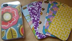 buy a clear iPhone case. change the look whenever you like with cut-out scrapbook paper to fit the back. genius!