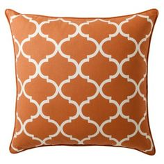 Threshold™ Oversized Lattice Toss Pillow - I like this terra cotta colored pillow from Target. Burnt Orange Curtains, Oversized Throw Pillows, Living Room Orange, Pillow Room, Pillow Sale, Formal Living Rooms, Perfect Pillow, Designer Pillow, Toss Pillows