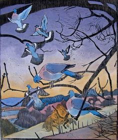 Robert Greenhalf (1950-): Wood Pigeons, woodcut
