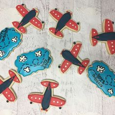 Birthday cookies for a good friends son first birthday! #airplanes #firstbirthday #turningone #happybirthday #clouds #vintageplanes #sugarcookies #sugarcookiesofcharlotte #sugarcookiesofinstagram #prettybakedbakery