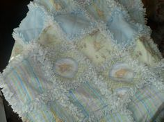 Soft Baby Rag Quilt -Classic Winnie the Pooh in Blue and Mint