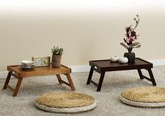 Wooden Folding Tea Table Vintage Japanese Style Bed Floor Tray #JapaneseStyle