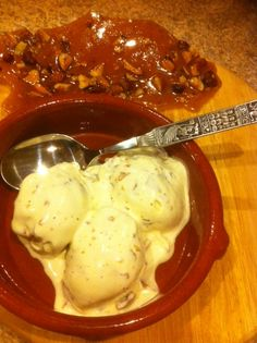 """Heavenly home made """"krokan-is"""" - almond brittle vanilla ice cream, a special Norwegian treat. Get the recipe at http://arcticgrub.com"""