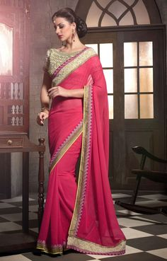 Pink Georgette Party Wear Sarees with Designer Blouse Material