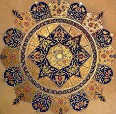 8 pointed star, Persian style illumination.