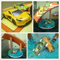[PIC 5] Hot Wheels diorama feito com resina poliéster e carrinhos sobre uma base de madeira. Esse foi um pequeno projeto feito em casa, qualquer dúvida comente abaixo ^^