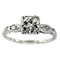 It's perfect  Diane Vintage Platinum and Diamond Engagement Ring by TurtleLoveCo, $2940.00