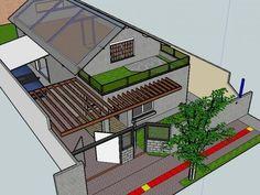 O projeto final da casa terá telhado verde e ainda pergolado de madeira. (Foto: Arquivo Pessoal)
