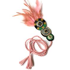 Coachella Clothing, Pink Feather Fascinator Headband, Music Festival... ($30) ❤ liked on Polyvore featuring accessories, hair accessories, hippie headbands, indian headband, boho headband, boho hair accessories and bohemian headband