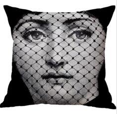 Nordic Style Linen Cotton Fabric Black and White Head Portrait Sofa Decorative Pillow