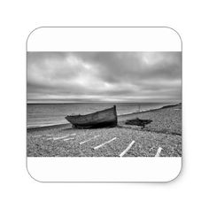 Deal Kent UK Fishing boat film noir effect Square Sticker - craft supplies diy custom design supply special