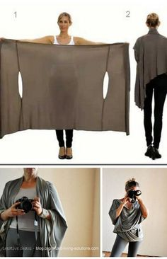 DIY Two Tutorials for the Bina Brianca #Wrap. It can be worn as a #scarf, #cardigan, #poncho, #blouse, #shrug, #stole, #turtleneck, shoulder scarf, back wrap, #tunic...                                                                                                                                                      More