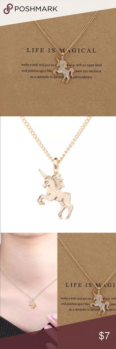 🦄Gold unicorn necklace🦄 Unicorn necklace. New in packaging. This listing is for the gold. Made of alloy metal. Gold dipped. Necklace only. Does not include the card. NO TRADES, OFFERS OR MODELING!! Jewelry Necklaces