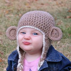 Pure Alpaca Natural Fawn Monkey Crochet Hat With by babybuttercup Crochet Monkey, Cute Crochet, Crochet Baby, Knitting Projects, Crochet Projects, Sock Monkey Hat, Diaper Covers, Crochet Patterns, Crochet Ideas