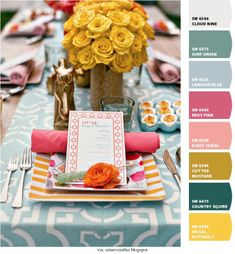 Turquoise & Yellow #tablescape - colors