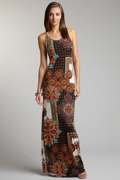 American Twist-Brown Multi Racerback Maxi Tank Dress