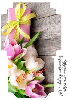 Коробка конфет с тюльпанами