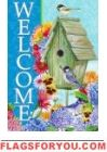 Welcome Birdhouse Garden Flag House Flags, Flag Decor, Garden Flags, Birdhouse, Pansies, Welcome, Daisy, Outdoor Decor, Margarita Flower