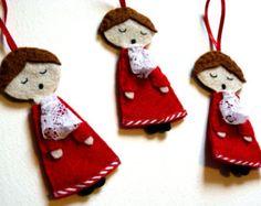 SALE - Cute Choir Boy Felt Christmas Decoration