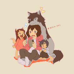 Shop Okami Kodomo wolf children t-shirts designed by bonuslevel as well as other wolf children merchandise at TeePublic. Anime Wolf, Anime Furry, Wolf Children Ame, Wolf Kids, Anime Films, Anime Characters, Personajes Studio Ghibli, Lobo Anime, Deidara Wallpaper