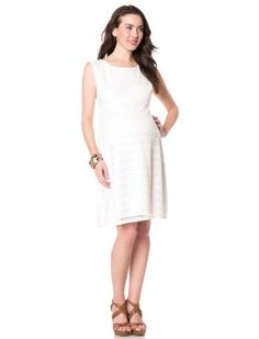 Sleeveless Empire Waist Maternity Dress. Maybe white dress and yellow necklace?