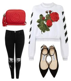 """""""green hearth"""" by ananeevees on Polyvore featuring moda, Off-White, Boohoo, Jimmy Choo e Gucci"""
