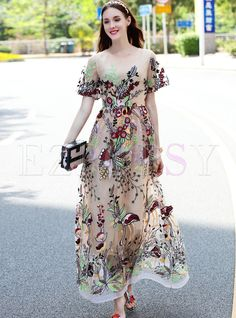 Shop for high quality Ethnic Embroidered See Through Short Sleeve Maxi Dress With Underskirt online at cheap prices and discover fashion at Ezpopsy.com