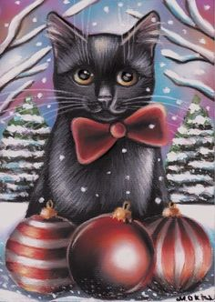 Black Cat Kitten Portrait Christmas Tree Winter Snow 5x7 Art Painting by MARTA  | eBay