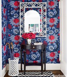 whimsical and vibrant entryway wallpaper with traditional touches   La Dolce Vita