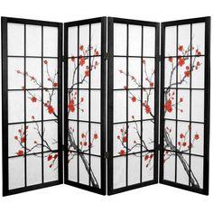 Oriental Furniture 6-Panel Black Folding Indoor Privacy Screen ...