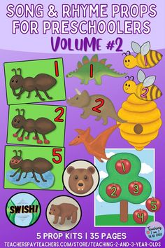 Keep your preschoolers engaged during circle time with these five song prop sets. Includes visual props for The Ants Go Marching, 10 Little Dinosaurs, Here Is the Beehive, We're Going On a Bear Hunt, and Way Up High in the Apple Tree. Circle Time Activities, Movement Activities, Toddler Circle Time, Finger Plays, Music And Movement, New Teachers, Apple Tree, Toddler Preschool, Classroom Organization