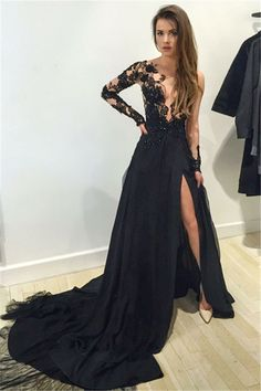 Black Lace Plunge V Long Mesh Sleeves Floor Length Chiffon A-Line Prom Dress Featuring Slit and Train